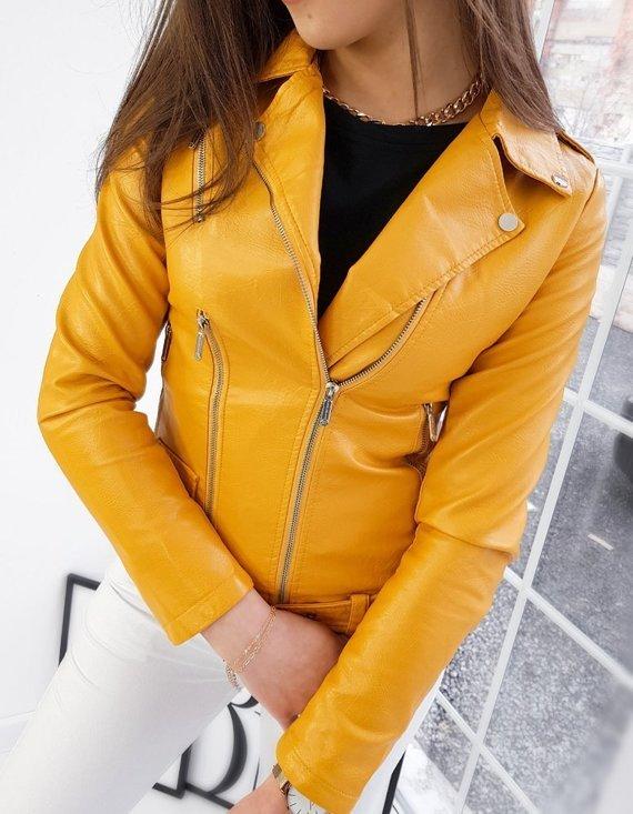 skórzana kurtka damska w żółtym kolorze